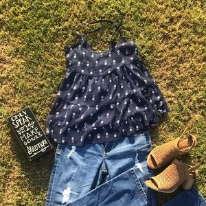 Abercrombie & Fitch blue summer sheer top